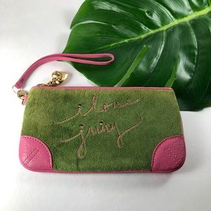 Juicy Couture I Love Juicy Green Pink Wristlet